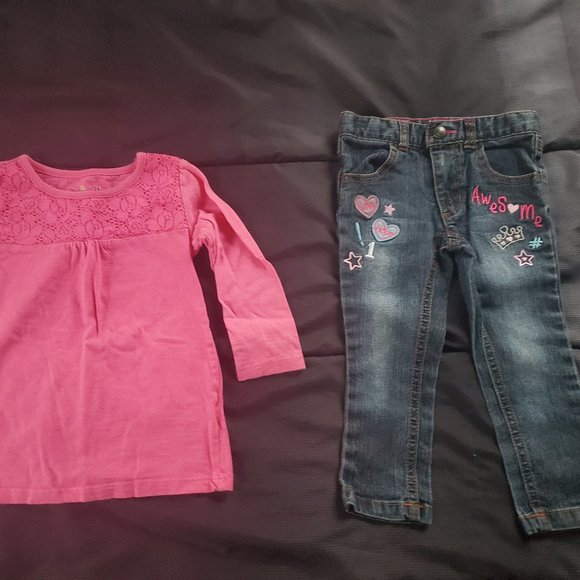 girl 2t design jeans and pink top
